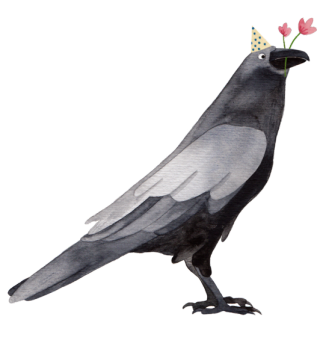 Raven with a party hat