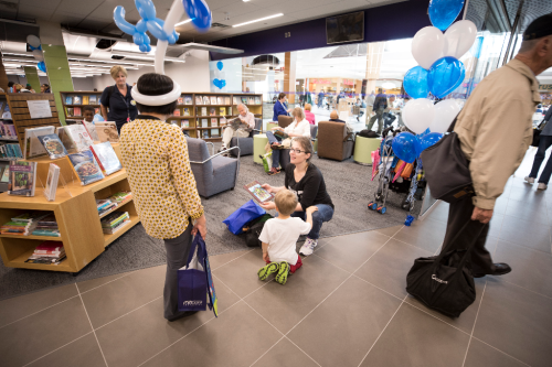 mother and son in the new eglinton square branch