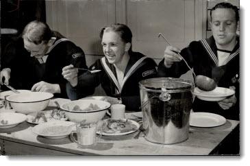 Norwegian airmen eat breakfast at Camp Little Norway on Toronto Island