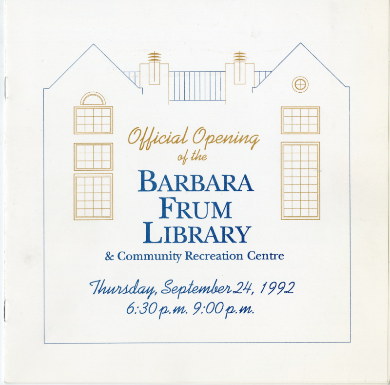 Barbara Frum official opening invitation September 24 1992
