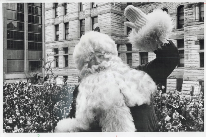 1973 Toronto Star photo  Santa Claus waving to cheering crowds at Toronto Santa Claus parade