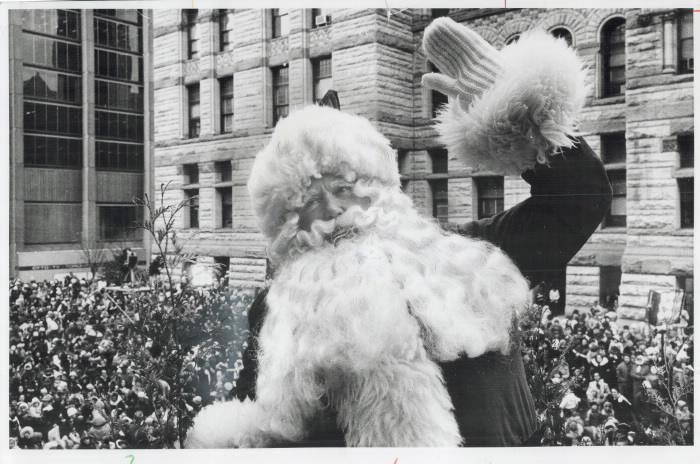1973 Toronto Star photo  Santa Claus waving to cheering crowds at Toronto Santa Claus parade