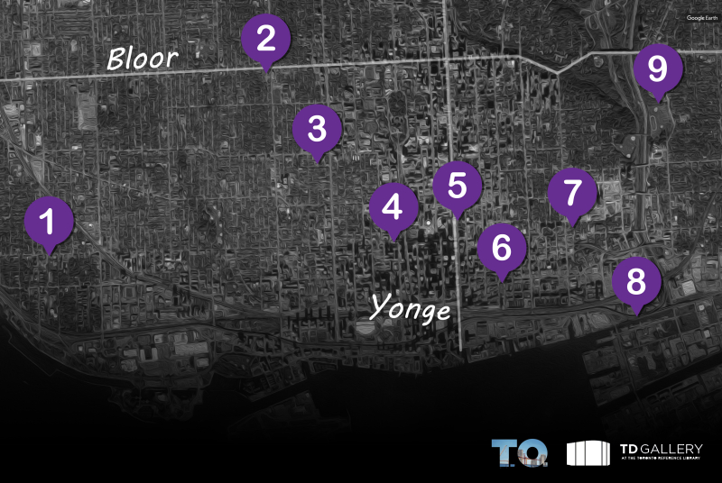 Map showing downtown Toronto with numbered pins that indicate the location of the subject matter of the associated painting