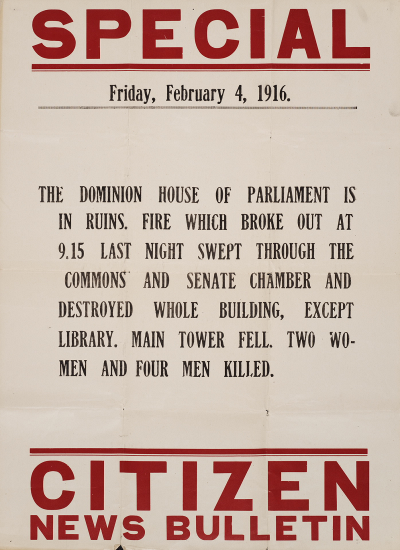 Bulletin posted after a 1916 fire destroyed the Parliament buildings in Ottawa