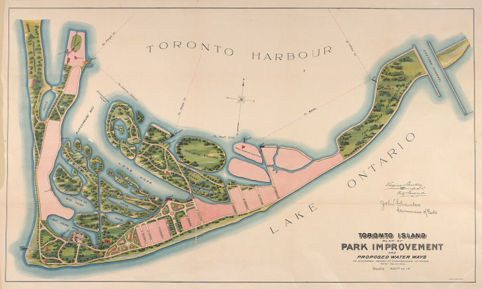 Toronto Island  plan of park improvement and proposed water ways to accompany a report of commissioner of parks  dated Dec. 15th  1903 maps-r-101