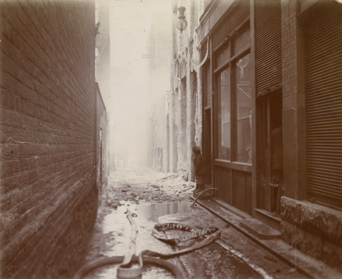 Fire (1904); aftermath of fire  lane  e. side of Telegram Building pictures-r-1838