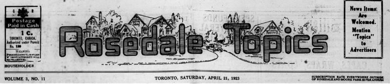 Rosedale Topics, 1923