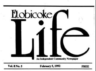 Etobicoke Life, 1992