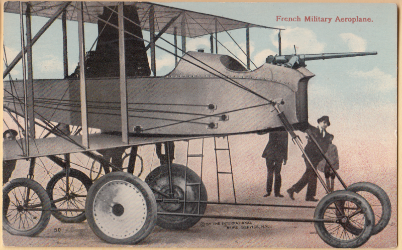 French Military Aeroplane vintage WW1 postcard by International News Service of NY mailed 1915
