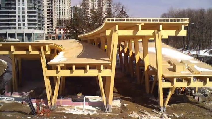 Scarborough Civic Centre Branch Toronto Public Library green roof ramps during construction