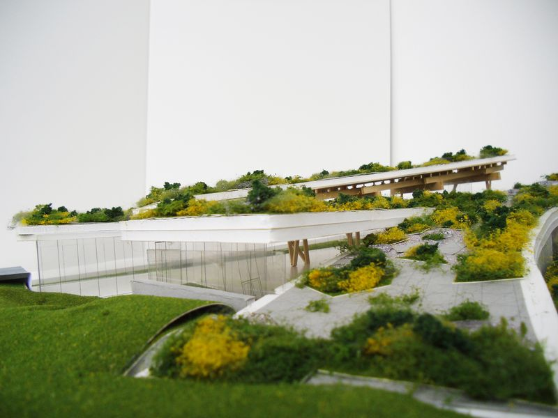Scarborough Civic Centre Branch Toronto Public Library green roof and landscape design model ramps