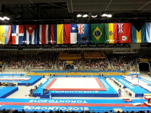 Pan Am flags gymnastics