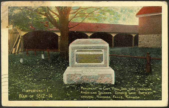 Monument to Capt Hall and nine unknown American Soldiers, Lundy's Lane Battleground, Niagara Falls, Canada. Historical 1 War of 1812-14 pcr-1657