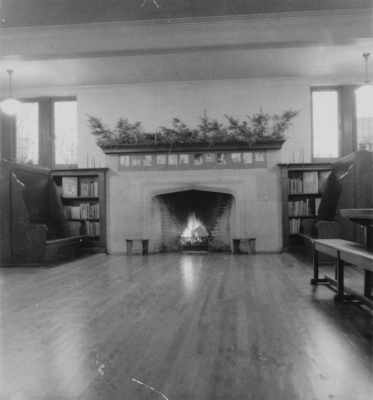 Wychwood Branch Library vintage photo 1940 New Year's Children's room fireplace.