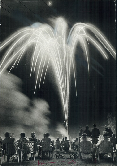 1972 Holiday fireworks. The traditional Victoria day fireworks drew an estimated 6;000 persons to Alloa Public School in Bramalea last night where the show was staged by the Chinguacousy volunteer firemen.