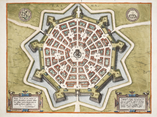 Colourful map of the star-shaped fortified city of Palma