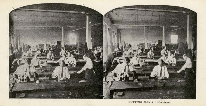 Eaton, T., Company, Louisa St., n.e. cor. Downey's Lane; Interior Cutting Men's Clothing 1909