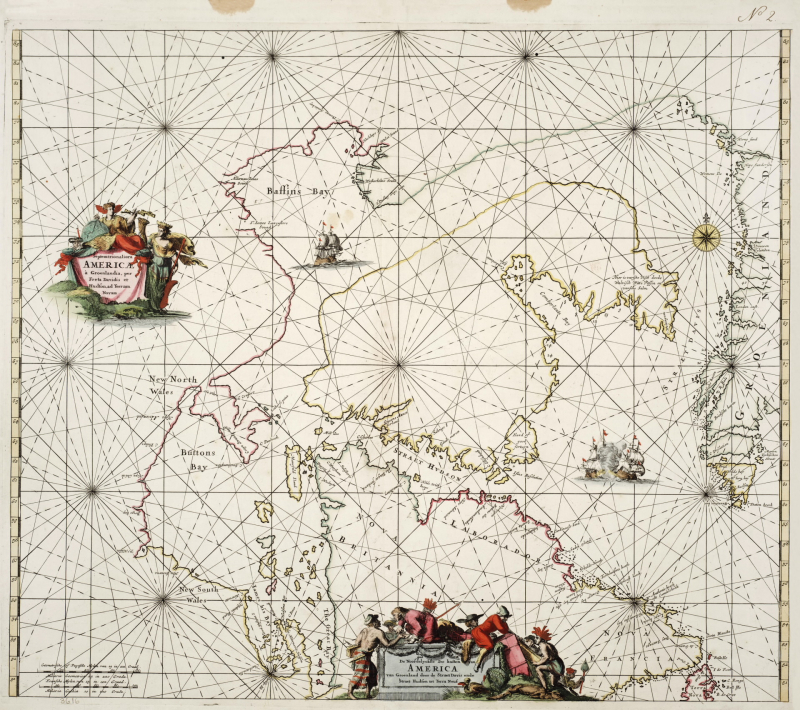 A sea chart covered in intersecting solid and dashed lines and is decorated with ships and human figures