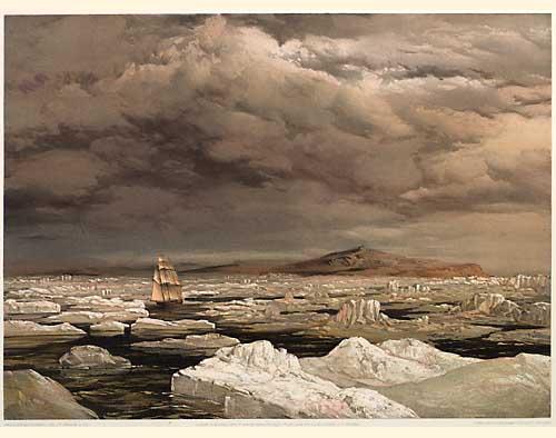 """Cresswell, Samuel Gurney. """"La première découverte de la terre par la H.M.S. Investigator, le 6 septembre 1850."""". Londres, 1854"""