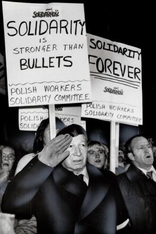 Polish Vigil at City Hall in support of SOlidarnosc 1981 Torstar archives