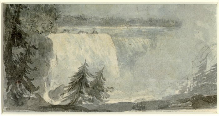 Niagara Falls in 1792 as painted by SIMCOE, ELIZABETH POSTHUMA (GWILLIM) (1762-1850)