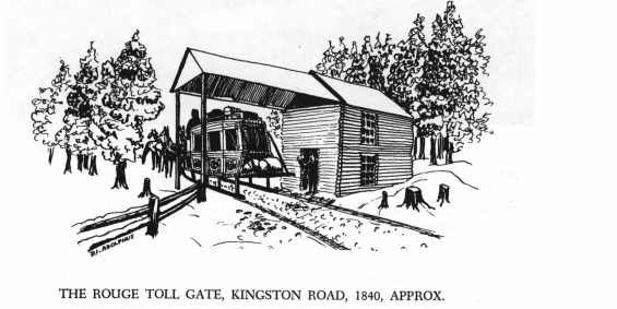 The Rouge Toll Gate Kingston Road 1840 Approx page 76 RR Bonis A History of Scarborough