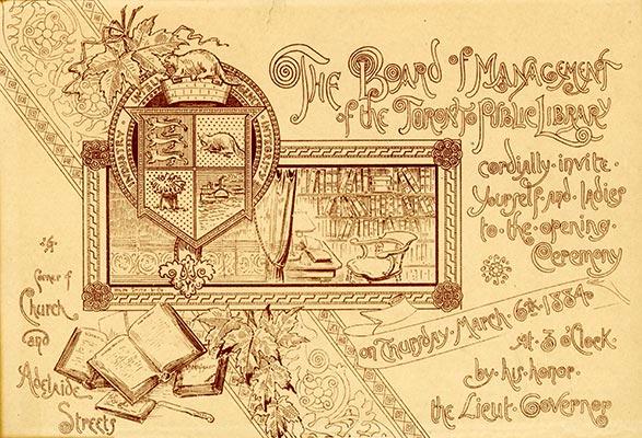 Toronto Public Library March 61884 Invitation