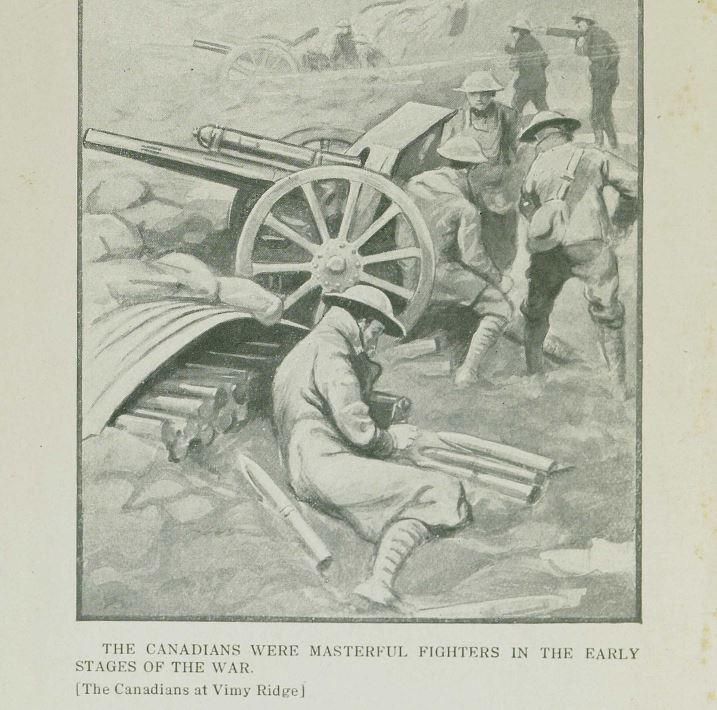 illustration of soldiers at Vimy Ridge