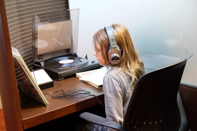 Child listening to vinyl