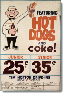 Tim Horton Drive-In Sign from the 1960s