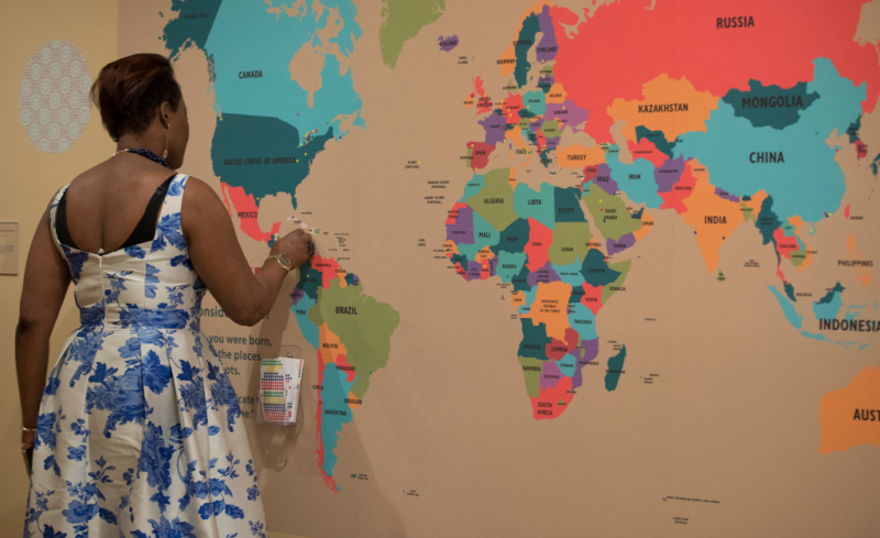visitor pins the Destination Canada map