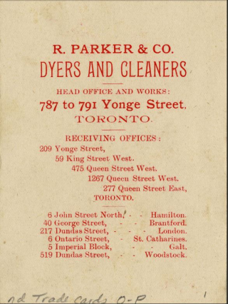Parker's Dye Works ad card verso 1890