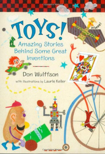 Book cover with illustrations of different toys in playful colours