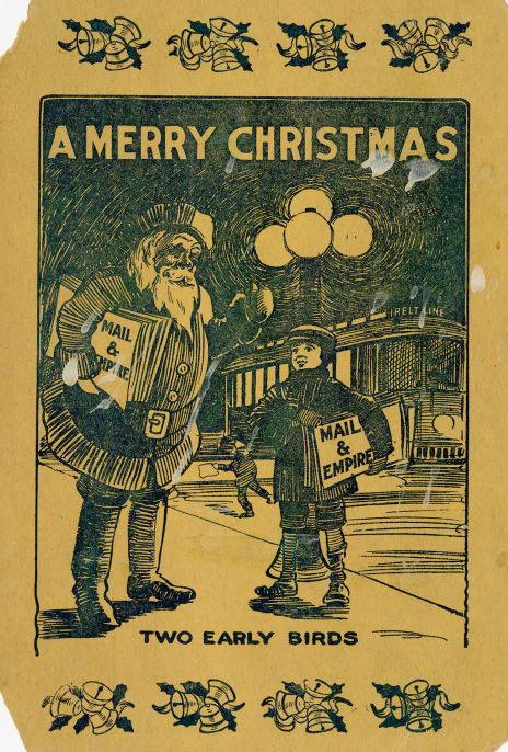 A boy and Santa holding Mail and Empire newspapers on the street in front of a street car