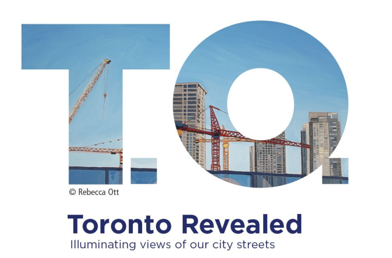 Toronto Revealed logo and copy that reads Toronto Revealed  illuminating views of our city streets
