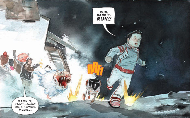 Panel of Descender in which a boy and his robot dog run away from a group of aliens  one of which is shotting a gun