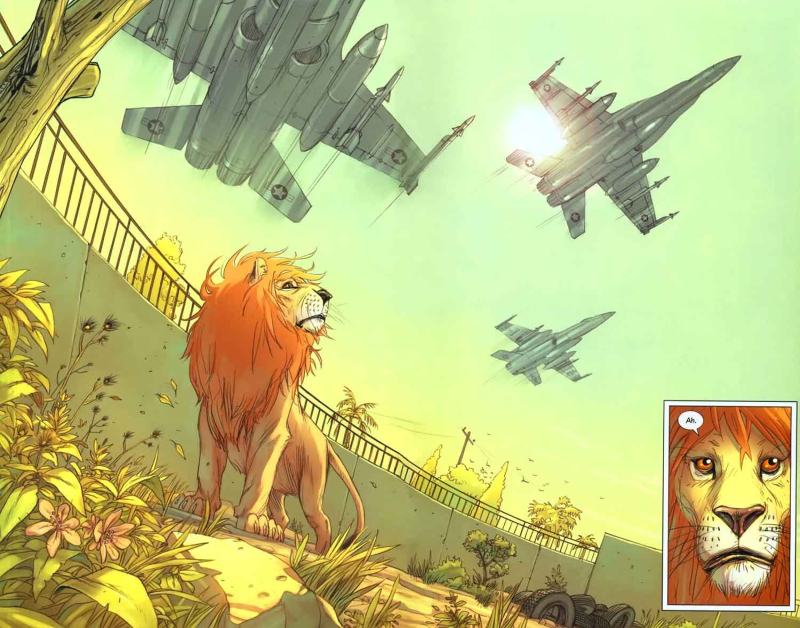 Two page spread from comic showing a lino in a zoo with fighter jets passing by close to the ground