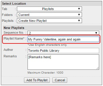 Naxos playlist popup window