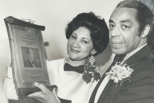 Bromley Armstrong and his wife Marlene receiving an award