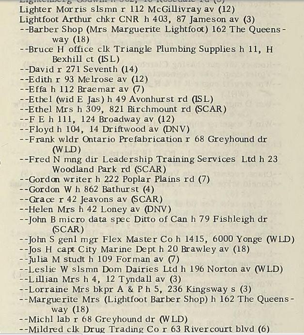 Toronto directory 1969 Lightfoot