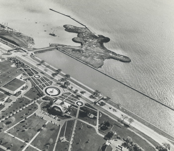 1969 photo Ontario Place aerial view construction
