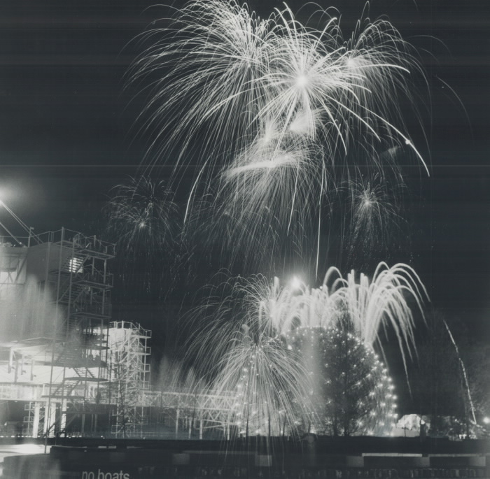 1971 photo fireworks over Cinesphere Ontario Place opening night