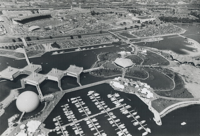 1972 photo Aerial view of Ontario Place