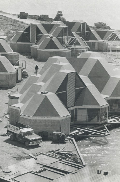 1971 photo construction of pods for retail restaurants