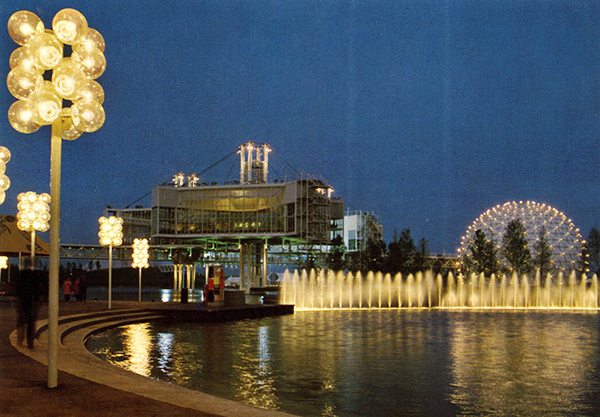 vintage postcard circa 1970s Ontario Place at night with groovy night standards