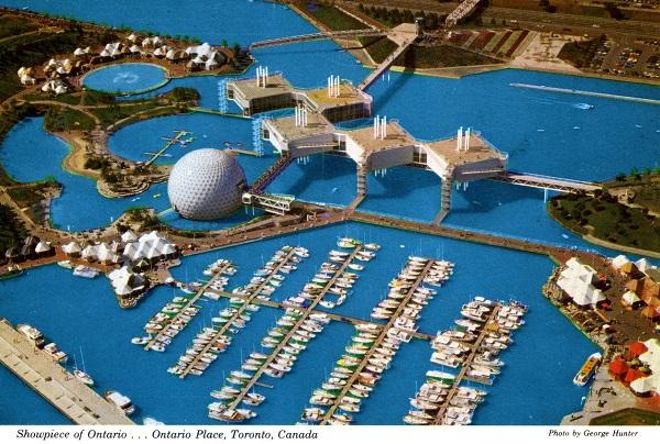 Vintage postcard circa 1970s aerial view Showpiece of Ontario ...   Ontario Place Toronto Ontario photo by George Hunter