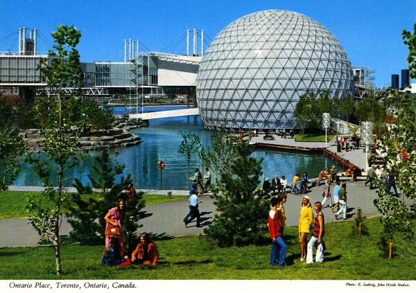 Vintage postcards circa 1970s Ontario Place  Toronto  Ontario Cinesphere photo by E. Ludwig for John Hinde Studios