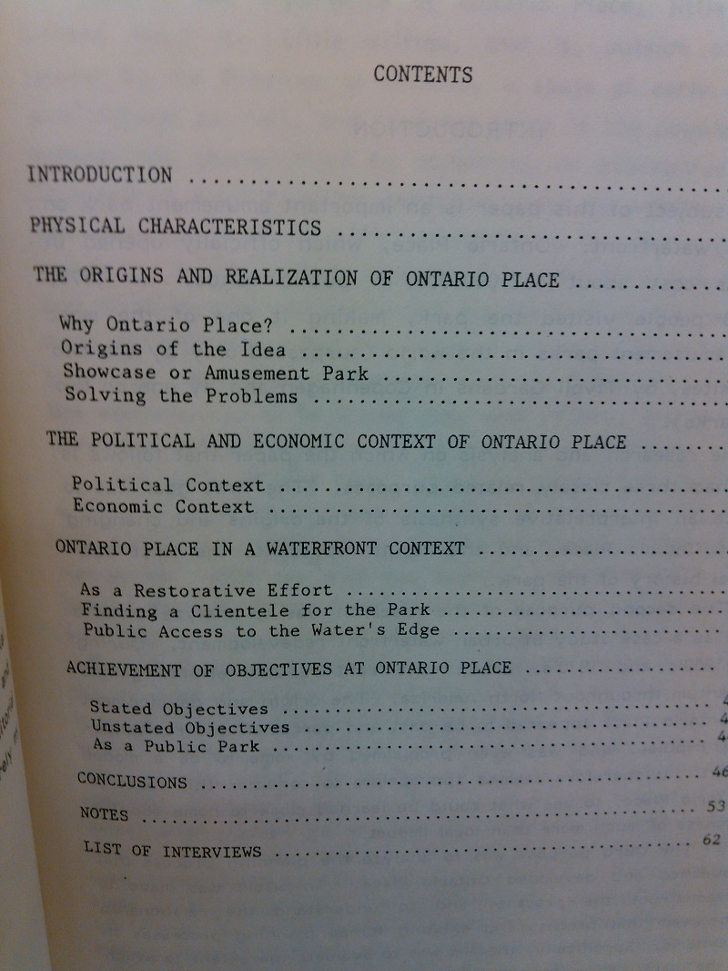 Arlene Gemmil Ontario Place The Origins and Planning of an Urban Waterfront Park table of contents