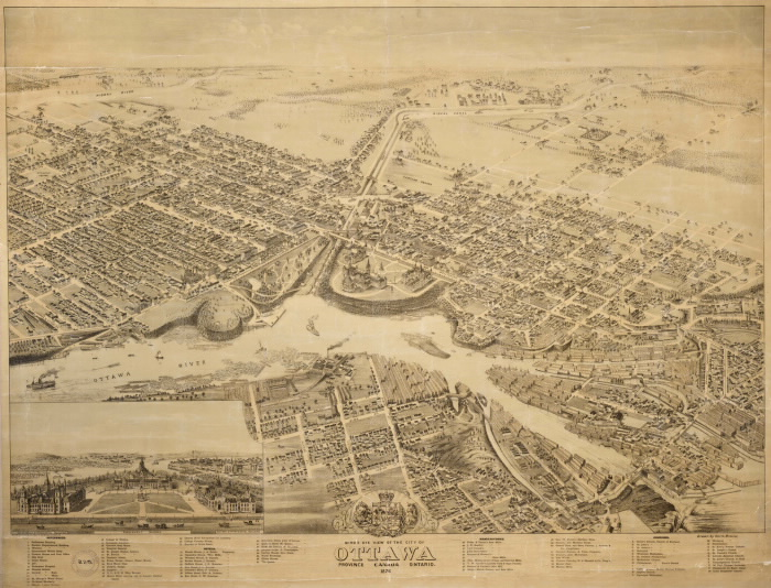1876 Bird's eye view of the city of Ottawa from the Ontario Digital Archive