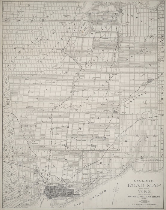 1896 Cyclists' road map for the county of York  including portions of Ontario  Peel and Simcoe counties